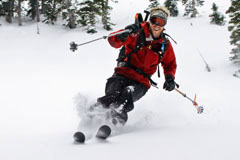 Picture of a student earning their Professional Ski and Snowboard Guide Certificate at CMC.