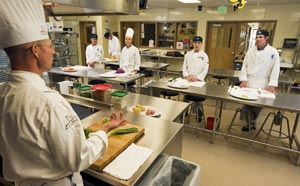 Picture of instructor teaching a Culinary Arts (AAS) class at CMC.