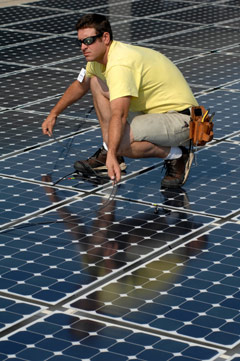 Picture of someone working on their Basic Solar Photovoltaic Certificate at CMC.