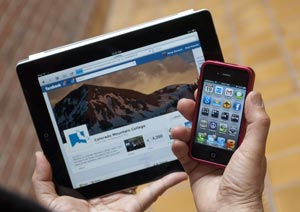 Picture of an iPhone and iPad used for the New Media (AAS) degree at CMC.
